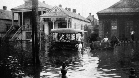 A street scene in New Orleans during the 1927 flood, which was one of the worst natural disasters of the 20th century.