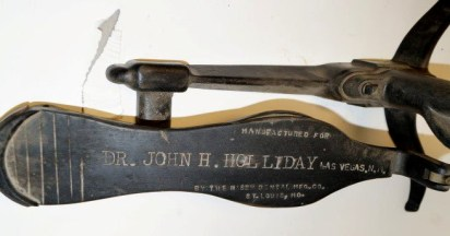 A close-up of the foot pedal on Doc Holliday's dental chair