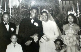 Medgar and Myrlie Evers on their wedding day