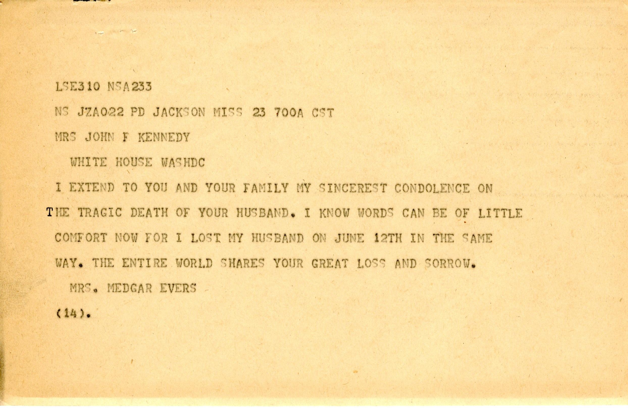 Myrlie Evers telegram to Jackie Kennedy