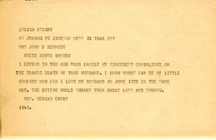 Myrlie Evers telegram to Jackie Kennedy