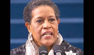 Myrlie Evers-Williams giving the invocation at Obama's inauguration