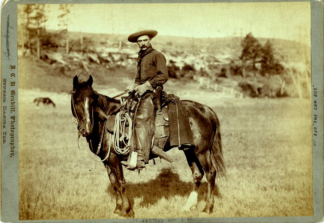A hardworking cowboy on his trusty horse, circa 1888. Photo by John C.H. Grabill of Sturgis, Dakota Territory; courtesy of the Library of Congress.