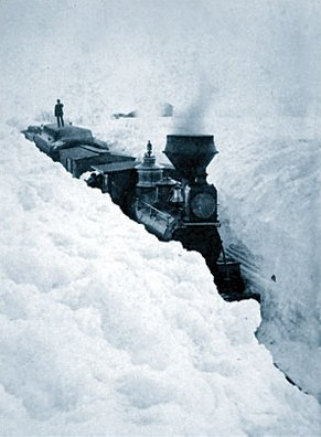 A train stuck in the snow in Minnesota, March 1881.
